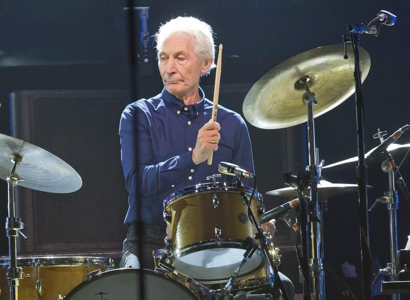 FILE - Charlie Watts, of the Rolling Stones, performs during a concert of the group's No Filter Europe Tour at U Arena in Nanterre, outside Paris, France, Oct. 22, 2017. Watts will likely miss the bands upcoming U.S. tour to allow him to recover from an unspecified medical procedure. A spokesperson for the musician said Wednesday, Aug. 4, 2021, the procedure was completely successful but that Watts needs time to recuperate. (AP Photo/Michel Euler, File)