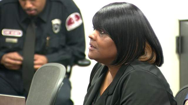 Ann Marie Thomas, a former EMT, at her sentencing hearing for willful neglect of duty in Detroit on Thursday, April 12, 2018. (WDIV)