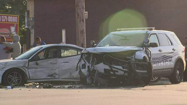 A Detroit police cruiser and two vehicles were involved in a crash Oct. 12, 2019. (WDIV)