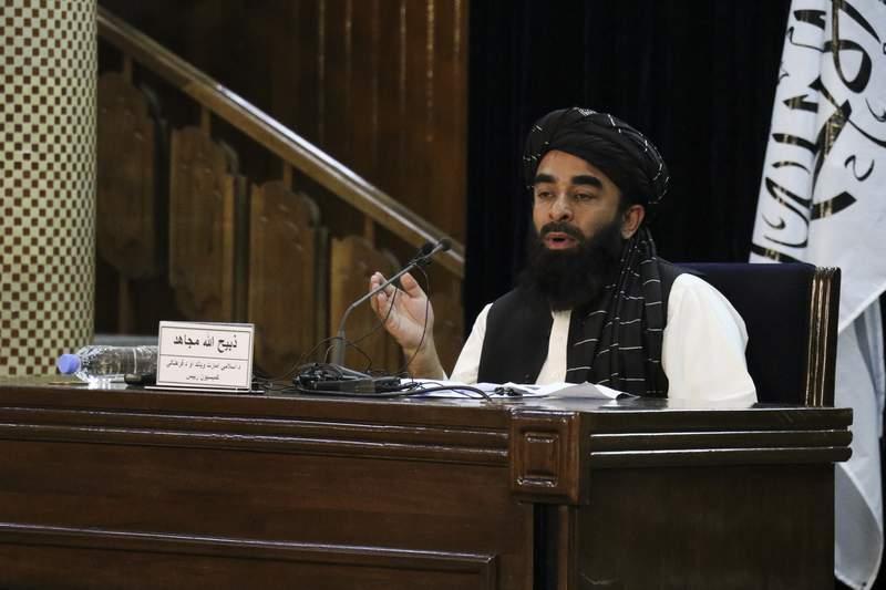 Taliban spokesman Zabihullah Mujahid speaks during a press conference in Kabul, Afghanistan Monday, Sept. 6, 2021.(AP Photo/Muhammad Farooq)