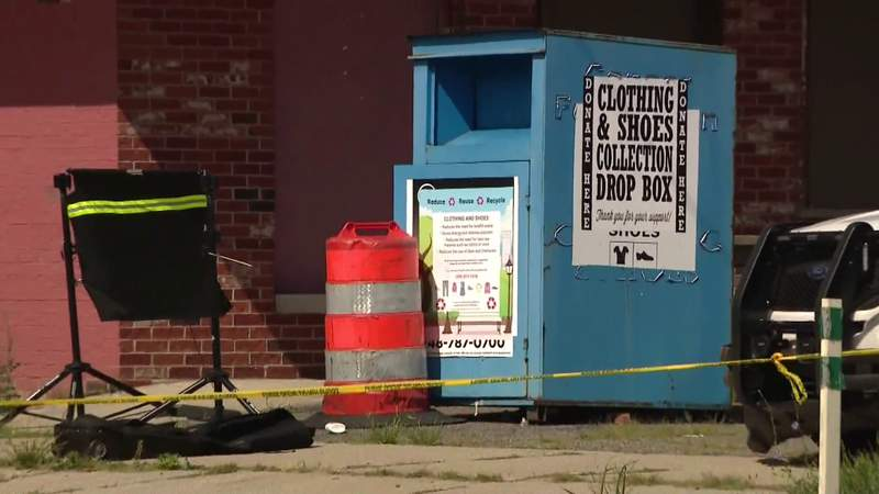 Police said a body was found in a clothing donation bin Aug. 25, 2021, on Detroit's east side.