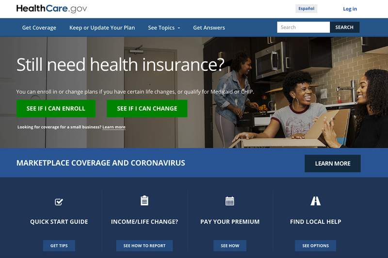 This screen grab from the website shows the main web page for the HealthCare.gov. More than 200,000 people signed up for coverage in the first two weeks after President Joe Biden re-opened HealthCare.gov as part of his coronavirus response, the government said Wednesday. (Centers for Medicare and Medicaid Services via AP, File)