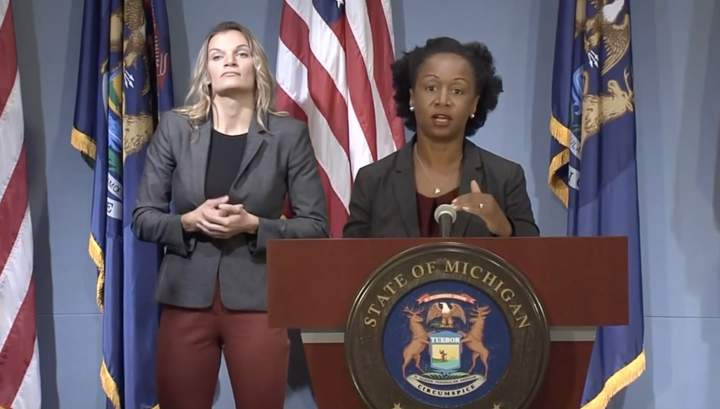 Michigan Department of Health and Human Services Chief Medical Executive Dr. Joneigh Khaldun speaks at a news conference Aug. 5, 2020.