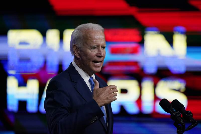 Democratic presidential candidate former Vice President Joe Biden, speaks in Wilmington, Del., Wednesday, Sept. 2, 2020, about school reopenings. (AP Photo/Carolyn Kaster)