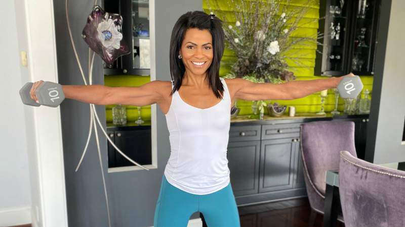 Local 4's Rhonda Walker exercising at home amid Michigan's stay at home orders due to the coronavirus outbreak.