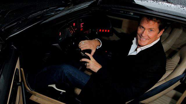 David Hasselhoff sits in his KITT car from the series 'Knight Rider' in Hannover, Germany. (Photo by Sean Gallup/Getty Images)