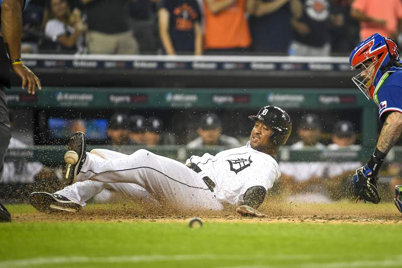 DETROIT, MICHIGAN - JULY 19: Jonathan Schoop #7 of the Detroit Tigers scores a run during the bottom of the sixth inning at Comerica Park on July 19, 2021 in Detroit, Michigan. (Photo by Nic Antaya/Getty Images)
