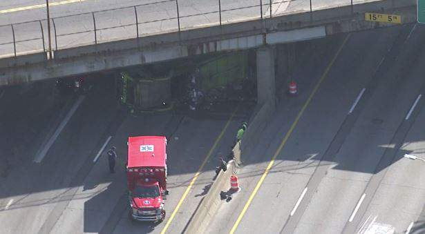 Westbound I-94 rollover crash near Gratiot Avenue in Detroit on Tuesday, May 26, 2020.