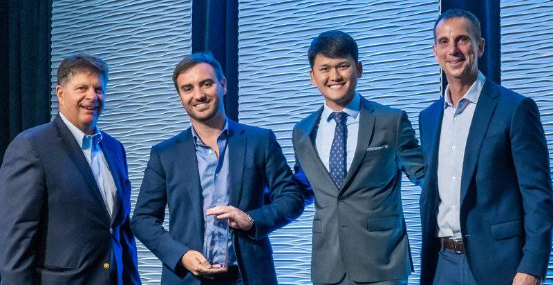 Oxford Companies received its ninth FastTrack Award. Pictured left-to-right: Paul Krutko (Ann Arbor SPARK), Andrew Selinger (Oxford), Wonwoo Lee (Oxford), and David Ruud (DTE).