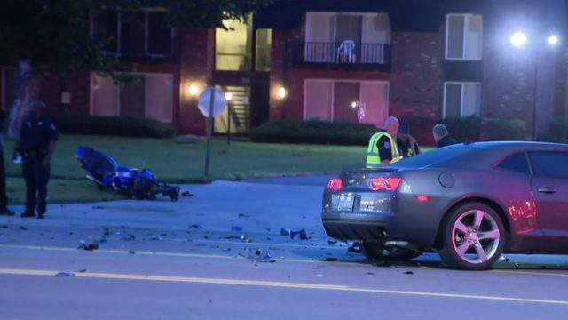 A motorcycle was involved in a crash at Hoover and 12 Mile roads on July 24, 2019. (WDIV)