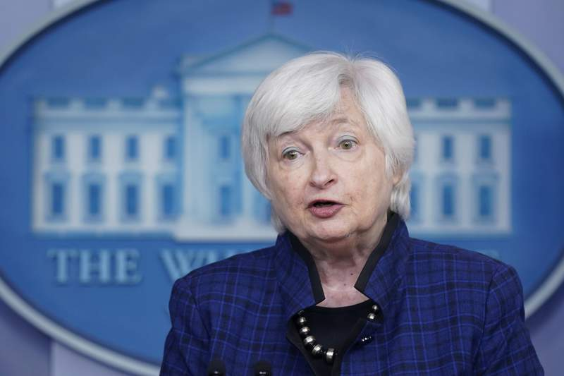 FILE - In this May 7, 2021 file photo, Treasury Secretary Janet Yellen speaks during a press briefing at the White House in Washington.  Yellen says that the economic recovery is going to be bumpy with high inflation readings likely to last through the end of this year. But Yellen maintained Thursday, May 27,  that the inflation pressures will be temporary and if they do threaten to become embedded in the economy, the government has the tools to address that threat.  (AP Photo/Patrick Semansky)