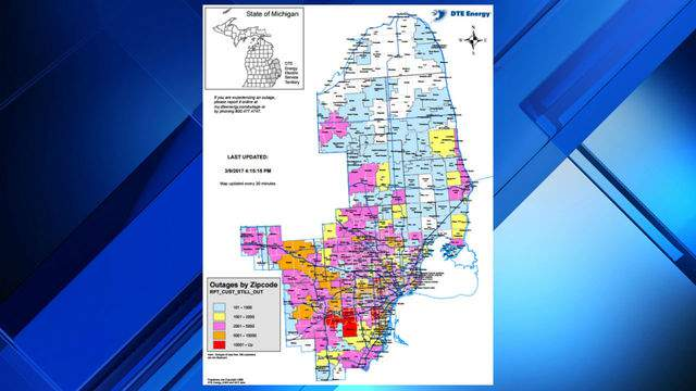 VIEW OUTAGE MAP: DTE power outages by ZIP code