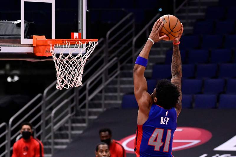 TAMPA, FLORIDA - MARCH 03: Saddiq Bey #41 of the Detroit Pistons slams the ball during the third quarter against the Toronto Raptors at Amalie Arena on March 03, 2021 in Tampa, Florida. NOTE TO USER: User expressly acknowledges and agrees that, by downloading and or using this photograph, User is consenting to the terms and conditions of the Getty Images License Agreement. (Photo by Douglas P. DeFelice/Getty Images)