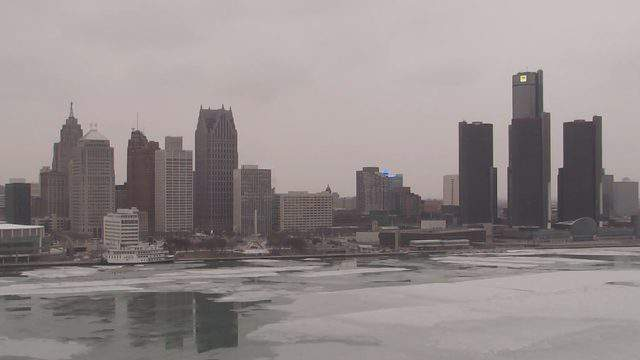 A view of the Detroit riverfront on Feb. 26, 2019. (WDIV)