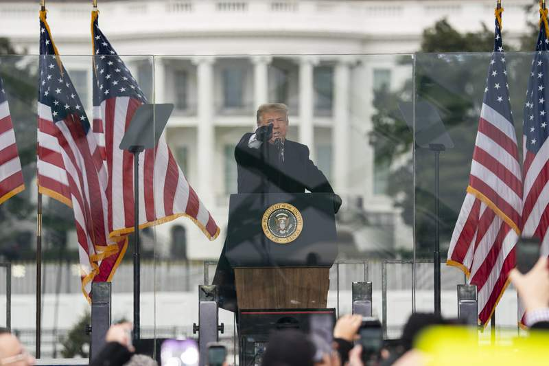 FILE - In this Jan. 6, 2021, file photo President Donald Trump speaks during a rally protesting the electoral college certification of Joe Biden as President in Washington. Arguments begin Tuesday, Feb. 9, in the impeachment trial of Donald Trump on allegations that he incited the violent mob that stormed the U.S. Capitol on Jan. 6. (AP Photo/Evan Vucci, File)