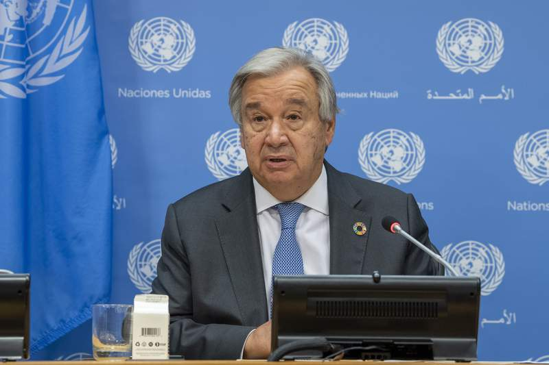 In this photo provided by the United Nations, Secretary-General Antonio Guterres briefs reporters during the 75th session of the United Nations General Assembly, Tuesday, Sept. 29, 2020, at U.N. headquarters in New York. (Rick Bajornas/UN Photo via AP)