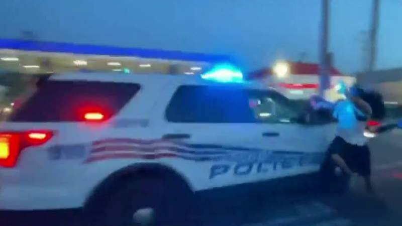 Video captures Detroit police SUV drive through crowd of protesters