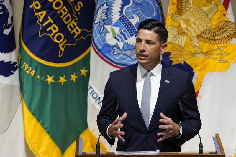 FILE - In this Sept. 9, 2020, file photo, acting Homeland Security Secretary Chad Wolf speaks during an event at DHS headquarters in Washington. The Department of Homeland Security has rolled out a series of of immigration measures in recent days. The agency is helping to revive an issue that was at the heart of Trumps successful 2016 campaign, but largely on the back burner in the current one.  (AP Photo/Susan Walsh, File)