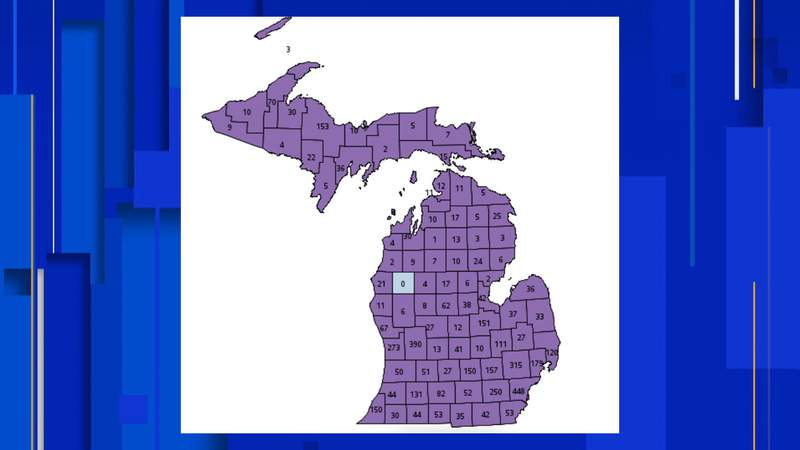A map showing the number of delta variant cases identified in each Michigan county for the week ending Oct. 11, 2021.