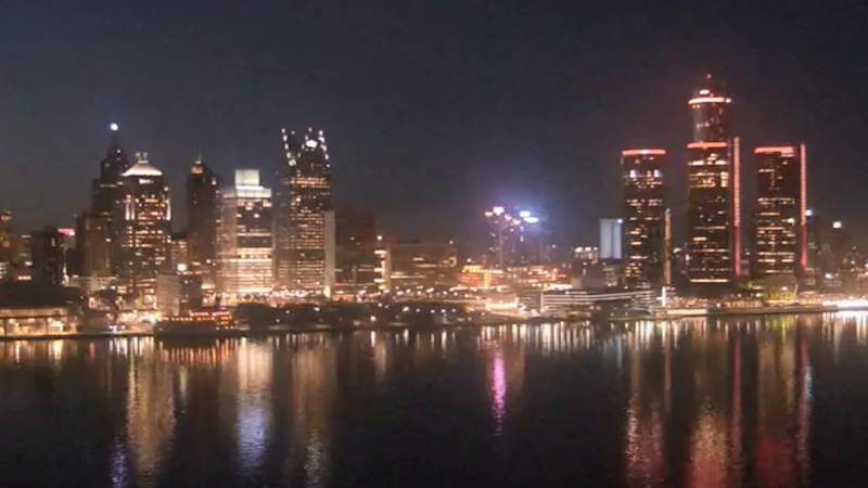 View of Detroit from the Windsor sky camera on March 10, 2020 at 8:10 p.m.