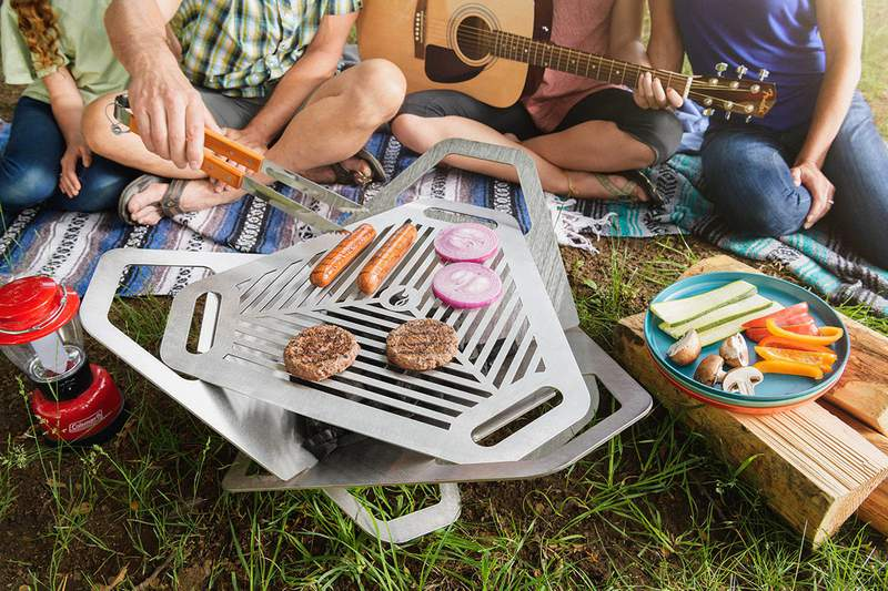 This dual fire pit and grill is portable, safe, and convenient.