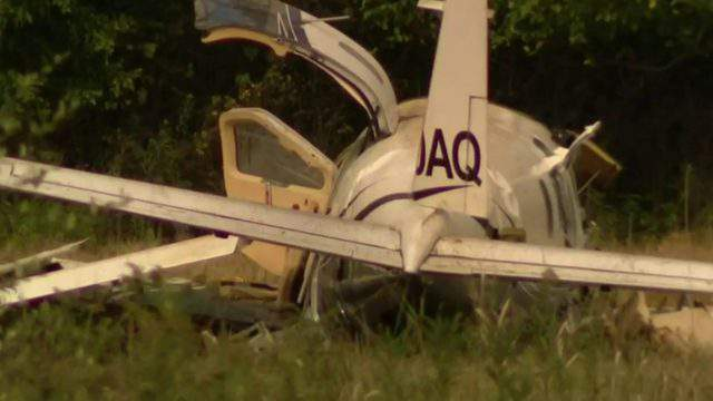 A plane that crashed Oct. 3, 2019, in the Lansing area. (WDIV)
