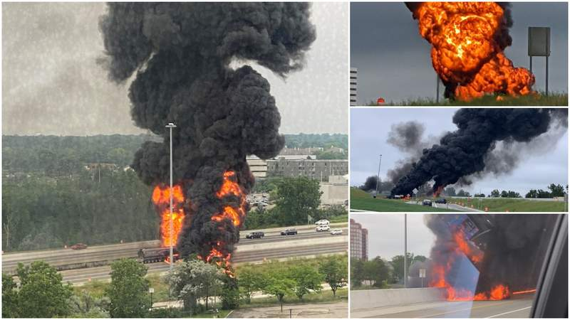 Pictures of a tanker truck fire on I-75 near Big Beaver Road on July 12, 2021.