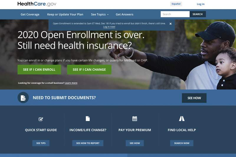 This screen grab from the website HealthCare.gov shows the extended deadline for signing up for health care coverage for 2020. The Trump administration says people will get more time to sign up for Obamacare health insurance following a spate of computer glitches over the weekend. The Centers for Medicare and Medicaid Services says the new HealthCare.gov deadline is 3 a.m. Eastern time on Wednesday, Dec. 18. (Centers for Medicare and Medicaid Services via AP)