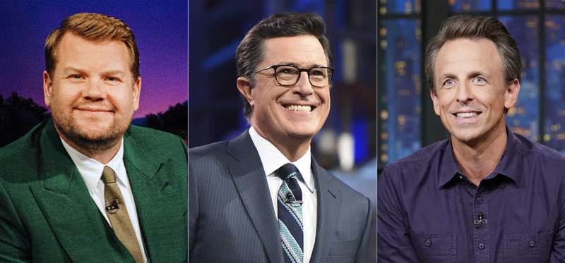 """This combination of photos shows from left, James Corden, host of """"The Late Late Show with James Corden"""" on Sept. 14, 2021, Stephen Colbert, host of """"The Late Show with Stephen Colbert"""" on July 11, 2016, and Seth Meyers, host of """"The Late Show with Seth Meyers."""" Eight of television's late-night comics focused much of their shows on the issue of climate change. (CBS/CBS/NBC via AP)"""