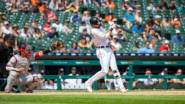 Nicholas Castellanos #9 of the Detroit Tigers hits a single in the ninth inning against the Washington Nationals during a MLB game at Comerica Park on June 30, 2019 in Detroit, Michigan. Washington defeated the Detroit 2-1. (Photo by Dave Reginek/Getty Images)