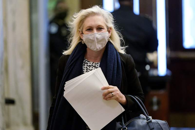FILE - In this Feb. 10, 2021, file photo, Sen. Kirsten Gillibrand, D-N.Y., arrives at the Capitol in Washington. Gillibrand became the first Democratic senator to call for her colleague Al Frankens resignation amid multiple allegations of sexual misconduct in 2017. The New York Democrat used the issue as a #MeToo rallying cry, building a 2020 presidential run around promoting womens and family rights. But Gillibrand and other top Democrats have stopped short of calling on New York's governor, Democrat Andrew Cuomo, to resign amid accusations of offensive behavior.  (Joshua Roberts/Pool via AP)