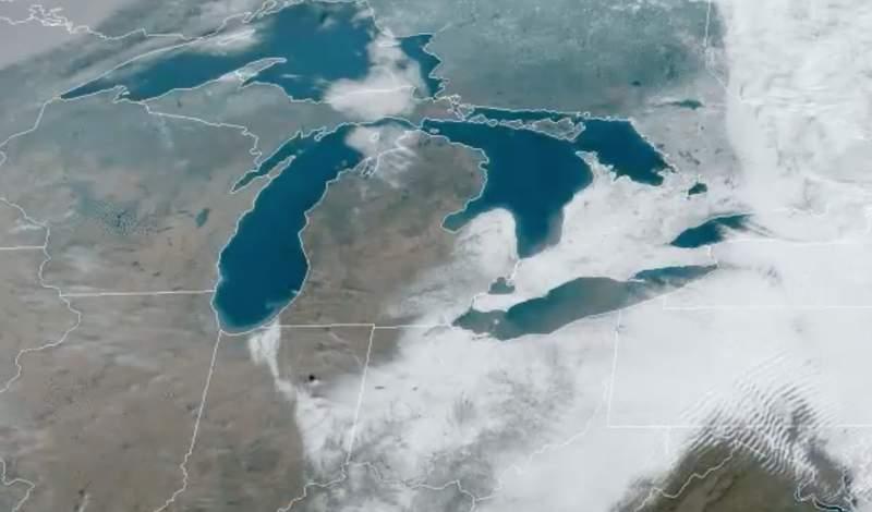 NOAA satellite imagery of Dec. 1-2, 2020 snowstorm in Great Lakes region.