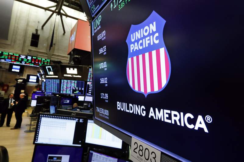 FILE - In this Sept. 13, 2019, file photo the logo for Union Pacific appears above a trading post on the floor of the New York Stock Exchange.  Union Pacifics first-quarter profit improved 6%, but the railroad expects shipping volume to plummet 25% in the second quarter because of the ongoing coronavirus outbreak. The railroad said Thursday, April 23, 2020, it earned $1.47 billion, or $2.15 per share, in the first quarter. (AP Photo/Richard Drew, File)