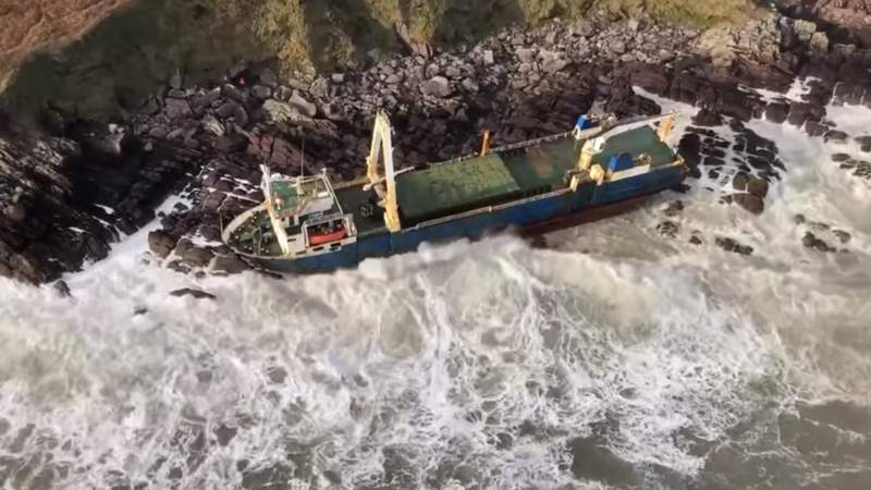 A ghost ship washed up in Ireland on Feb. 16, 2020.