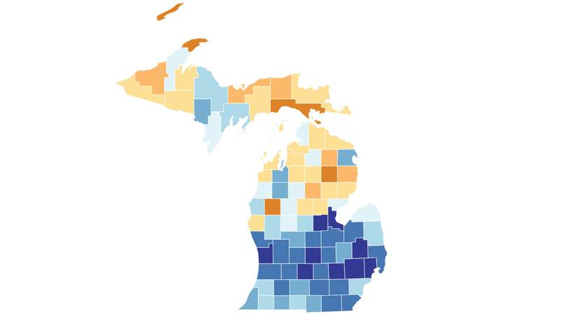 A screenshot of a map of Michigan color-coded by each county's response rate for the 2020 Census. Data and photo from the 2020 Census website.