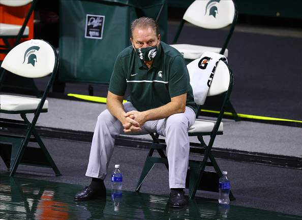 EAST LANSING, MI - NOVEMBER 25: Head coach Tom Izzo of the Michigan State Spartans looks on during warm ups before the game against the Eastern Michigan Eagles at Breslin Center on November 25, 2020 in East Lansing, Michigan. (Photo by Rey Del Rio/Getty Images)