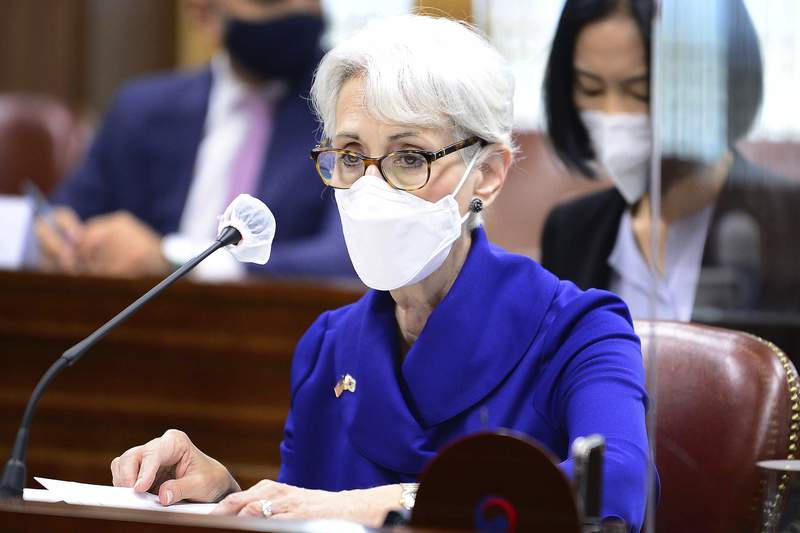 In this photo provided by South Korea Foreign Ministry, U.S. Deputy Secretary of State Wendy Sherman speaks during a meeting with South Korean First Vice Foreign Minister Choi Jong Kun at the Foreign Ministry in Seoul, South Korea, Friday, July 23, 2021. Top U.S. and South Korean officials agreed Thursday to try to convince North Korea to return to talks on its nuclear program, which Pyongyang has insisted it won't do in protest of what it calls U.S. hostility. (South Korea Foreign Ministry via AP)