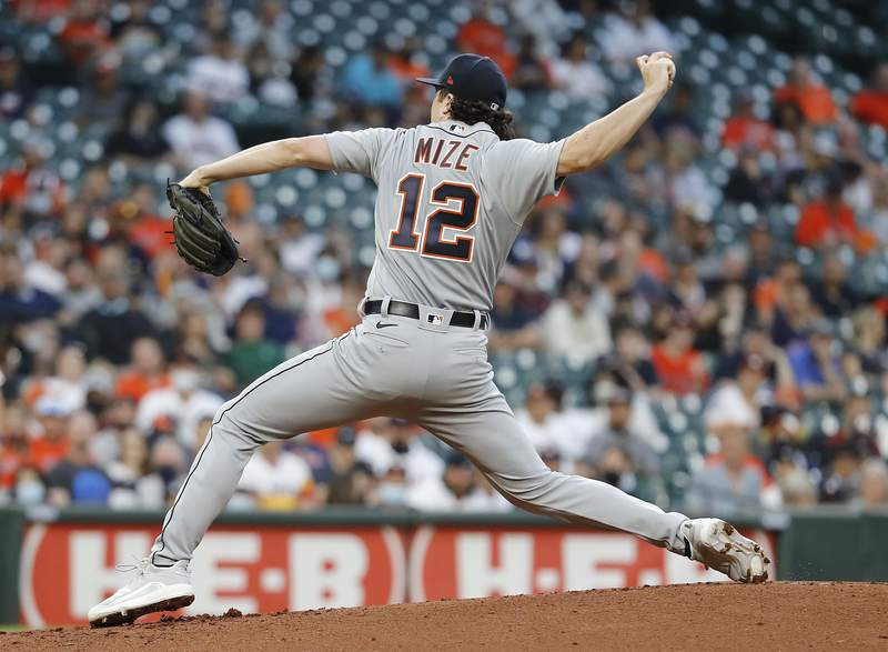 Casey Mize #12 of the Detroit Tigers pitches in the first inning against the Houston Astros at Minute Maid Park on April 12, 2021 in Houston, Texas.
