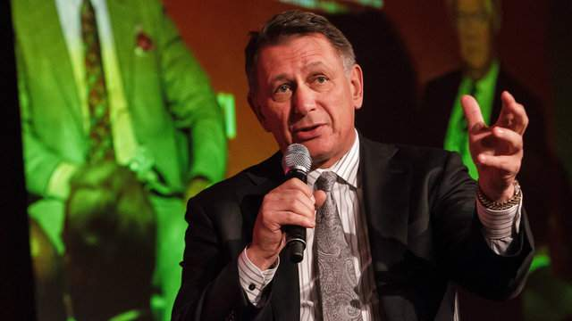 Detroit Red Wings general manager Ken Holland speaks during a Q&A with host Pierre Houde part of the NHL Centennial 100 Celebration at Bonaventure Hotel on November 17, 2017 in Montreal, Canada. (Photo by Francois Laplante/FreestylePhoto/Getty Images)