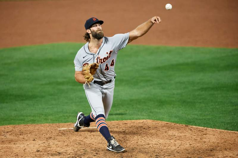Daniel Norris #44 of the Detroit Tigers delivers a pitch against the Minnesota Twins during the game at Target Field on September 22, 2020 in Minneapolis, Minnesota. The Twins defeated the Tigers 5-4 in ten innings.