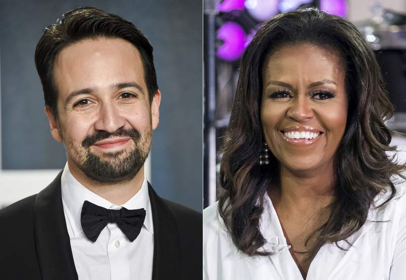 """Lin-Manuel Miranda arrives at the Vanity Fair Oscar Party in Beverly Hills, Calif. on Feb. 9, 2020, left, and Michelle Obama participates in the International Day of the Girl on NBC's """"Today"""" show in New York on Oct. 11, 2018. Miranda and Obama will join other celebrities in Roll Up Your Sleeves, a vaccine initiative airing at 7 p.m. EDT Sunday on NBC,(AP Photo)"""