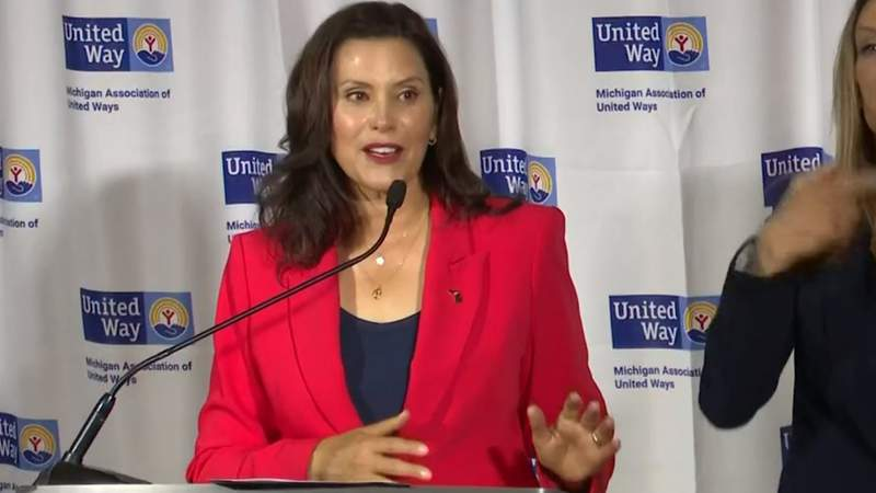 Michigan Gov. Gretchen Whitmer during a news conference July 1, 2021