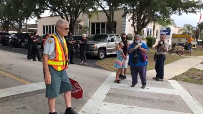 Florida elementary school celebrates 92-year-old retiring crossing guard