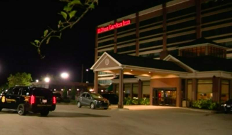 Police at the scene of a Sept. 16, 2021, shooting at the Hilton Garden Inn in Southfield.