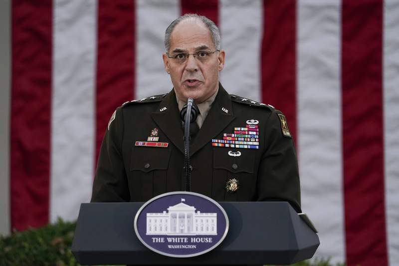 """FILE - In this Nov. 13, 2020, file photo Army Gen. Gustave Perna, who is leading Operation Warp Speed,speaks during at an event in the Rose Garden of the White House in Washington. The Army general in charge of getting COVID-19 vaccines across the United States apologized on Saturday, Dec. 19, for miscommunication with states over the number of doses to be delivered in the early stages of distribution. """"I failed. I'm adjusting. I am fixing and we will move forward from there,"""" Perna told reporters in  telephone briefing. (AP Photo/Evan Vucci, File)"""
