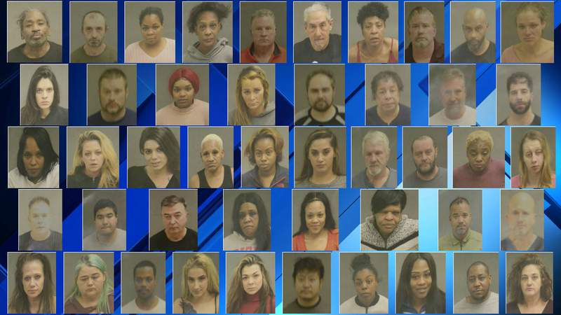 The 46 people charged Dec. 20, 2019, in a Warren police human trafficking and prostitution crackdown.