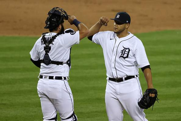 DETROIT, MICHIGAN - JULY 28: Joe Jimenez #77 of the Detroit Tigers celebrates a 4-3 win over the Kansas City Royals with Austin Romine #7 at Comerica Park on July 28, 2020 in Detroit, Michigan. (Photo by Gregory Shamus/Getty Images)