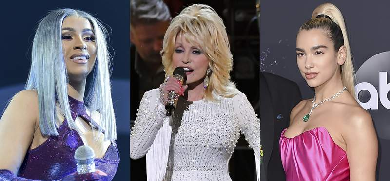 This combination photo shows Cardi B during the 2019 BET Experience in Los Angeles on June 22, 2019, from left, Dolly Parton performing at the 53rd annual CMA Awards in Nashville, Tenn. on Nov. 13, 2019, and  Dua Lipa at the American Music Awards in Los Angeles on Nov. 24, 2019. The three will be honored at the 15th Annual Women in Music Event on Dec. 10. (AP Photo)