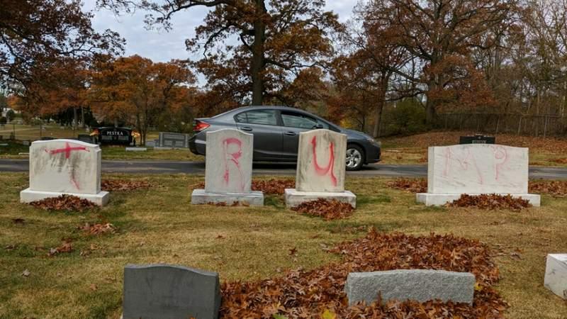 Vandalism at Ahavas Achim Cemetery on Garfield Avenue NW in Grand Rapids. (Courtesy ADL Michigan/Twitter, Nov,. 2, 2020)