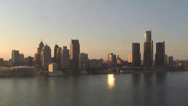 View of Detroit from the Windsor sky camera on June 11, 2019 at 8:25 p.m. (WDIV)